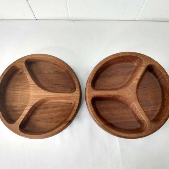 Dansk LOT of 2 Wooden Divided Serving Dish Bowls